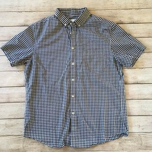 New Blue & White Gingham Plaid Button Down Shirt